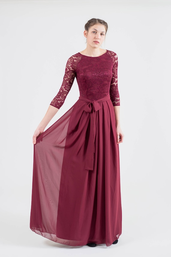 Long Burgundy Bridesmaid Dress With Sleeves Modest Lace