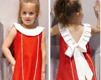 Bow Dress Pattern PDF for Girls : Toddler Dress Pattern Cute Baby Dress Girl Dress sewing pattern 2 - 6 years instant Download 'BOW'