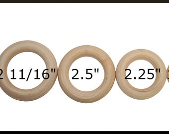 Wooden Rings, Baby Rings, DIY Wooden Rings, Wedding wood rings, Teething Rings, Bottle Toss Ring, Ring Toss