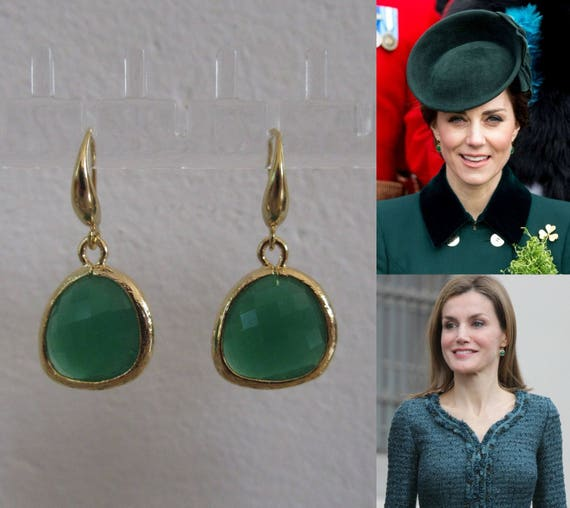 Kate Middleton Duchess Of Cambridge Inspired Replikate Queen Letizia Green Onyx Yellow Gold Drop Earrings by Etsy