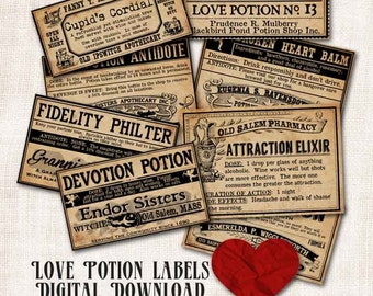 Love Potion Witch Apothecary Bottle Labels Digital Download Printable Aged Tags Halloween Image Collage Sheet