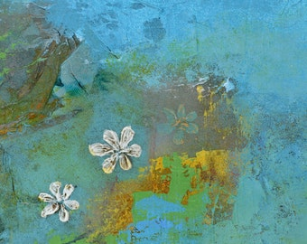 Blue Abstract Art Flower Print Floral Nature Large Prints