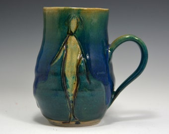 14 oz  stoneware Mugs, Handmade Pottery Mugs,  Green Blue Mug.