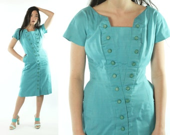 60s Wiggle Dress Short Sleeve Turquoise Cotton Gigi Young Vintage 1960s Medium M Pinup Rockabilly