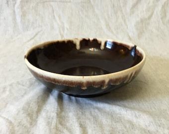 Vintage Brown Drip Serving Bowl or Large Fruit Bowl, Brown Drip Pasta Bowl