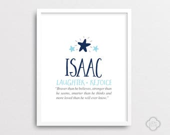 Personalized baby name meaning art print customized nursery isaac baby name meaning personalized baby gift custom baby name print boy negle Image collections