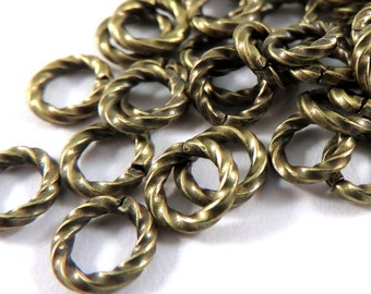 50 - 6mm Twisted Jump Ring Antique Gold Plated Brass Fancy Open 16 gauge 6mm Outside - 50 pc - 3495