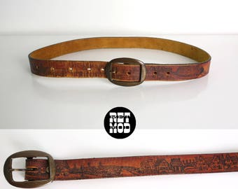 Novelty Print Vintage 70s Brown Leather Hippie Belt with Landscape Print