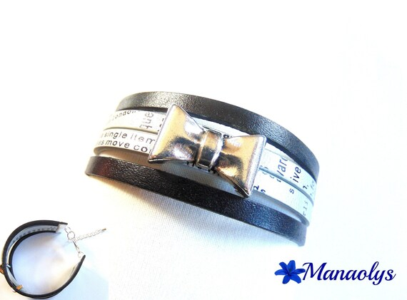Cuff leather and split leather black and grey, from Silver Bow