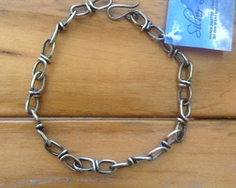 Sterling Silver Linked Bracelet With Patina Finish