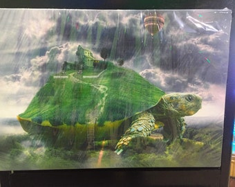 """Abstract Canvas Print - Turtle Shell House On Hill Print -- 20.5"""" X 14"""""""