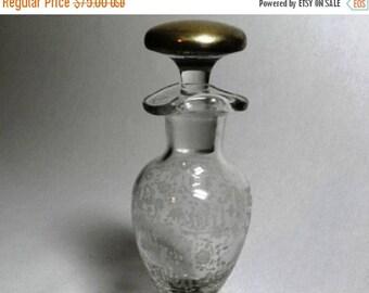 ON SALE Sheffield Silver Cruet - Etched Vinegar & Oil