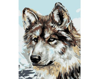 Paint by numbers kit Wolf A4