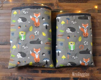 Woodland booksleeve_hardcover booksleeve paperback_hedgehog owl fox_book cozy_bibliophile gift_bookaholic_bookaddict_reader gift_animals