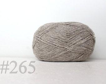 WOOL yarn 100%-Wool for knitting, crochet - grey with brown shade #265