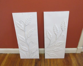 Upcycled Metal Wall Art White Distressed Hanging 3D Leaves