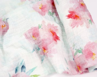 """Muslin Swaddle Blanket in Pink Floral Blooms - made from 100% cotton double gauze - 45"""" square"""