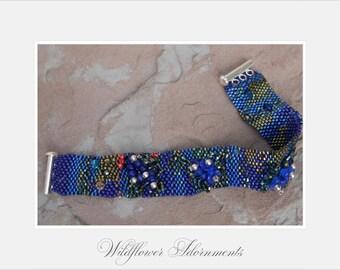 An Impressionist's Bluebonnet Field as a Beaded Woven Bracelet