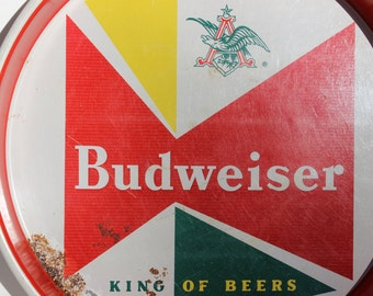 Budweiser Tray Vintage King of Beers Metal Tin Beer Breweriana Bar Red Green Superbowl Decoration Man Cave Must Have Vintage Anheuser Busch