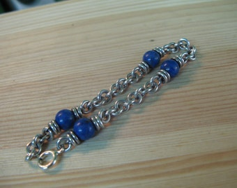 S 17g 925 Sterling SILVER Classic BRACELET 18 cm with SODALITE