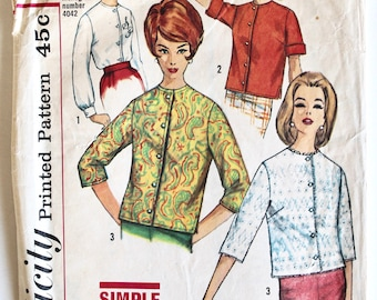 Vintage 1960s Women's Collarless Button Front Blouse Sewing Pattern Size 10 Bust 31 Simplicity 4464