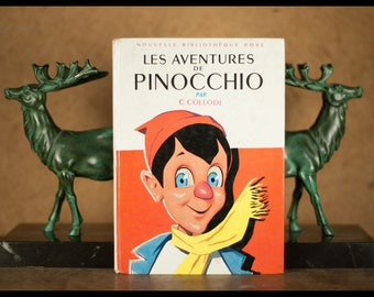 The adventures of Pinocchio by C.Collodi, new pink library Hachette 63 illustration of aslan, 1969, vintage