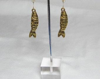 Fish Earrings Fisherman Fisherwoman Gold Fish