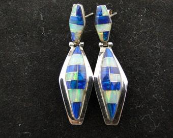 Blue White Green Fire Opal Earrings Sterling Silver