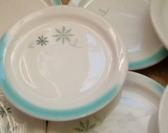 Vintage Shenango China New Castle PA RimRol Welroc Restaurant Side Plates Aqua Flower