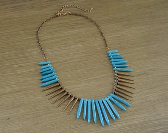 CLOSEOUT Edgy Turquoise Spike Necklace - Turquoise Statement Necklace - Turquoise Beaded Necklace - Antique Gold Spiked Necklace