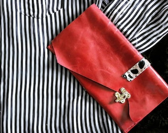 Evening clutch, red clutch, designer clutch, glam clutch, leather clutch purse