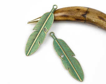 Brass Feather Oxidized in Green Patina 2 Pieces