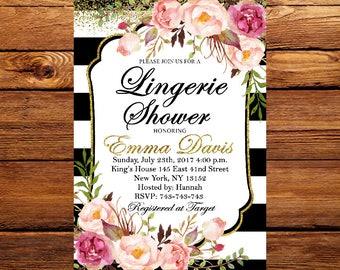 Lingerie Shower Invitation, Lingerie Shower, Lingerie Invitation, Lingerie Shower Invite, Florall Shower Invites, Black White Stripe 197