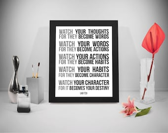 Watch Your Thoughts Lao Tzu Quotes Prints, Lao Ce Quotes Printable, Taoism Sayings, Office Decor, Office Art, Home Decor, Wisdom Print