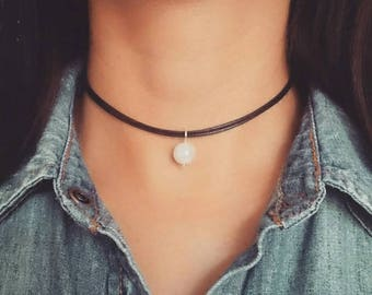 Moonstone Necklace, Moonstone Choker, Moonstone Jewelry, Gemstone Choker Necklace, Crystal Choker, Beaded Choker, Boho Choker Necklace