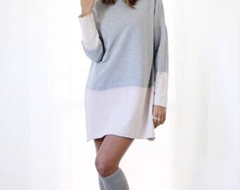 Gray Top, Cotton Dress, Fashion Top, Gray Dress, Tunic Dress, Long Sleeve Dress, Winter Dress, Loose Dress, Midi Dress, Sweatshirt Dress