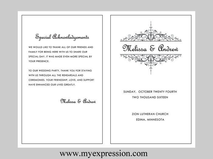 Wedding program acknowledgements demirediffusion wedding program template vintage filigree instant download maxwellsz