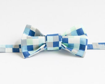 Handmade Bow Tie - Blue Tetris