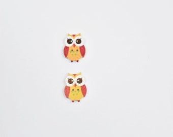 2 Orange Owls Buttons - Cute Wooden Button - Scrapbook Buttons Notions, Embellishment, Craft Supplies, Wood Buttons - Red Button