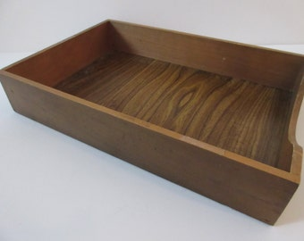 Vintage Wooden Paper Tray In Box Desk Organizer - Legal Sized