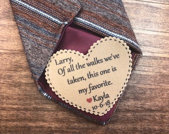 "TIE PATCH - Father of the Bride, Groom Gift, Iron or Sew, Of All The Walks We've Taken, Choose Patch Color, 2.25"" Wide Heart Shaped Patch"