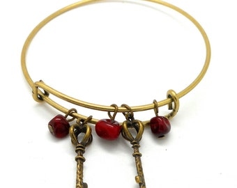Red bead key charm Bangle Bracelet