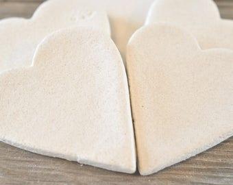 DIY Primitive Hearts Supplies Set of 10 Heart Unfinished Salt Dough Ornaments