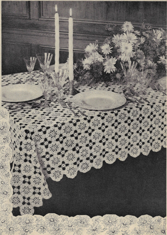 Crochet Tablecloth Patterns, New Tablecloths, Crochet Book, 1940s ...