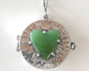 Locket, Nephrite Jade Locket, Heart Locket, Wyoming Green Jade Heart Locket