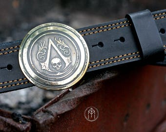 """Leather belt with a brass buckle """"Assassin's Creed Black Flag"""""""