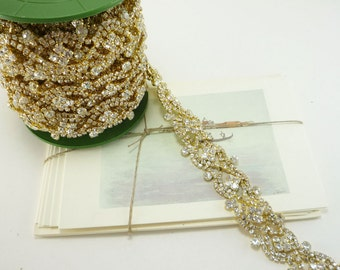 Gold Rhinestone Luxury Border Trim, Clear Crystal Trim, Wedding Rhinestone Trim, Rhinestone Chain, Rhinestone Applique, 30mm  ( 5 yard Qty)