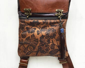 Leather backpack, medium, toffee and brown, sparrow print