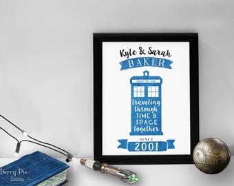 Personalized Doctor Who Print // 8x10 TARDIS Art with Personalized Names & Wedding Year // Wall Art Prints