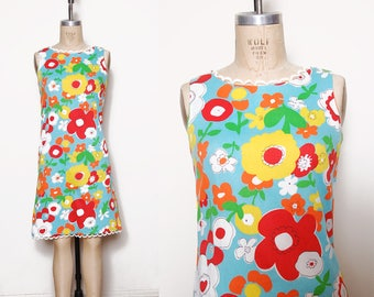 Vintage 60s bright floral dress / summer shift dress / graphic print dress / op art dress